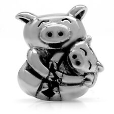 925 Sterling Silver MOTHER & BABY PIG European Charm Bead