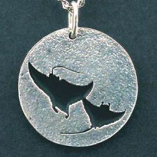 2 Manta Rays dancing, hand crafted sterling silver pendant, Scuba Diving jewelry