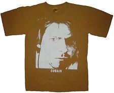 Kurt Cobain Nirvana band ***SMALL*** Brown t-shirt screen printed punk retro