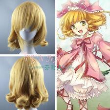 Short 20cm yellow gold Hinaichigo Rozen Maiden COSPLAY Party Hair wig +wigs cap