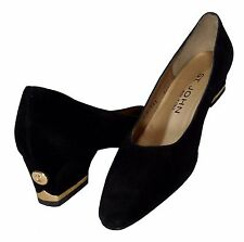 ST. JOHN Black Suede Classic Pumps w/Gold Metal Signature Design-6B-Worn Once