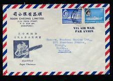 Singapour 1961 airmail bientôt Cheong env publicité tronçonneuse... Airport postmark