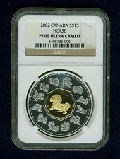 """CANADA  2002 15 DOLLARS """"YEAR OF HORSE"""" COIN, NGC CERTIFIED PROOF-68 ULTRA CAMEO"""
