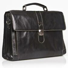 "ITALIAN BLACK REAL LEATHER SOFT BRIEFCASE / 15"" LAPTOP BAG RRP £400, BRAND NEW"