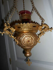 2 /ANCIENNE VEILLEUSE D'ICONE/ORTHODOXE/verre ancien /LAMPE A HUILE/A SUSPENDRE