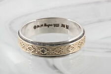 14K STERLING SILVER M.M. ROGERS MY TWO TONE NAVAJO BAND RING 925 SIGNED 0968