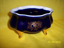 * Limoges Castel France 22K Gold Cobalt Blue Porcelain Oval Box Jar bowl trinket