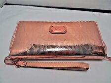 MICHAEL KORS JET SET TRAVEL MIRROR CONTINENTAL TRAVEL WALLET WRISTLET ROSE GOLD
