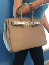 GORGEOUS WARM BROWN 30CM ITALIAN LEATHER HANDBAG WITH LOCK AND KEY