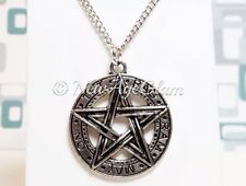 *PENTAGRAM*_Antiqued Silver Pendant + Chain Necklace_Pentacle Wiccan Pagan_N155