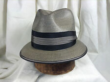 Vintage Resistol Straw Fedora Hat Very Cool Ribbon on Brim Edge. Sz 7 1/4 XLong