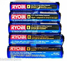 5 TUBES RYOBI BUFFING COMPOUND JEWELERS & PLASTIC ROUGE STAINLESS STEEL EMERY