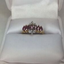 Ladies Ring Ruby And Diamonds 10K Gold (J174)