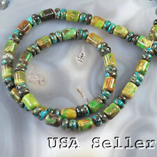 "6x8mm Natural Lime Green Turquoise Tube & Rondelle Beads 15""(TU544)a"