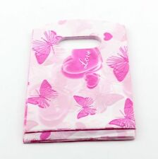 Jewelry Pouches.50pcs 9X15cm Pink Butterfly  Print Plastic Bags Jewelry Gift Bag