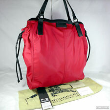 Rare Burberry Red Canvas Large Buckleigh Tote Handbag Purse Excellent Condition