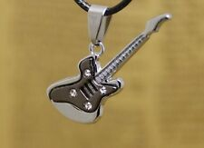 Guitar Black Silver Two Tone Pendant Necklace in velvet gift bag UK