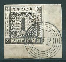 German States Baden SG: 8 fine used on piece.