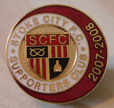 STOKE CITY  2007-2008 SUPPORTERS CLUB Badge Brooch pin in gilt 26mm x 26mm