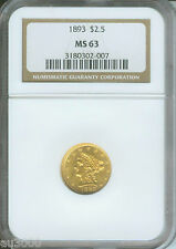 1893 $2.5 Liberty Quarter Eagle Ngc Ms63 Graded Ms-63 Beautiful & Scarce !