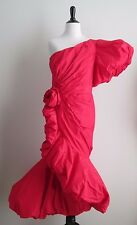 Vintage 80's RUBEN PANIS for Saks 5th Ave Red Asymmetric Gown Dress Sz S