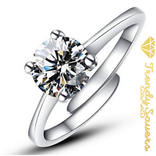 Adjustable  925 Sterling Silver Plated Women's Ladies Crystal Engagement Rings