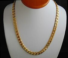 "14k Yellow Gold Finish Miami Cuban Curb Men Chain Stainless Steel 24"" Necklace"