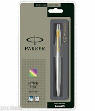 Parker Jotter Gold Trim Stainless Steel GT Retractable Ball Point Pen-USA Seller