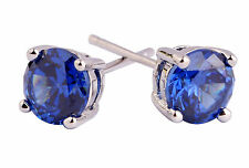 1.00 Ct Round Genuine Tanzanite 925 Sterling Silver Stud Earrings 5mm
