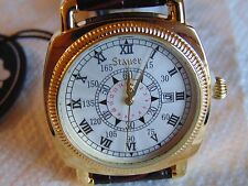 Stauer 41mm Explorer II 18K fused gold watch with Genuine Leather Strap L@@K!!!