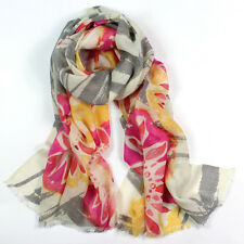 100% Pure Wool Woman's Pashmina Soft Wrap Stole scarf Grey & Pink  UKSeller