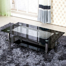 Modern Black and Clear  Rectangle Glass Coffee Table with Chrome Legs Designer
