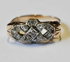 antiker Art Deco Ring Gold 585 Diamanten 0,40 ct - Gr. 57 - 18 mm Ø