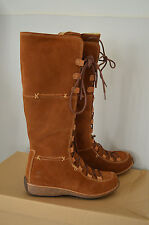 BNIB - TIMBERLAND - Brand New Long Tan Leather Suede Mountain Boots S 4