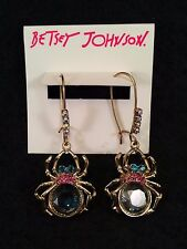 """BETSEY JOHNSON Gold-Tone """"Spider Lux"""" Shaky Crystal Drop Earrings NWT L@@K !!!!"""