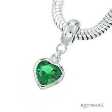 Sterling Silver Emerald Green CZ Heart Charm Stopper Fit European Bracelet 94261