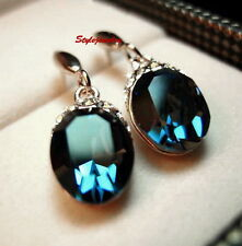 White Gold Filled Blue Sapphire Swarovski Crystal Oval Drop Dangle Earring IE62