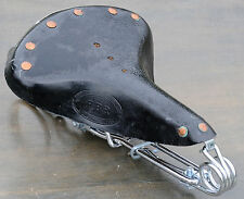 Black Leather Hairpin Saddle   Vintage Schwinn Chopper Rat Rod Cruiser Bike Seat