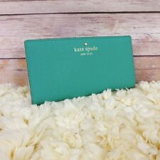 NWT Kate Spade Mikas Pond Stacy Bifold Wallet Dusty Emerald Saffiano Leather