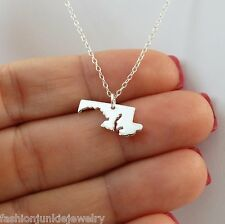 Maryland State Charm Necklace - 925 Sterling Silver - State Jewelry Maryland NEW