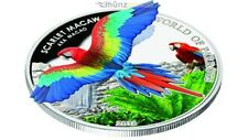 $ 5 Dollar Scarlet Macaw 3D World of Parrots Cook Islands Silver 2016
