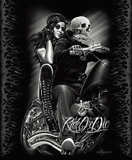DGA Ride Or Die Biker Babe Queen Blanket Warm Soft Plush Mink Motorcycle Skull