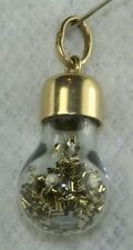1970'S VINTAGE 14K GOLD VIAL OF GOLD FLAKES CHARM PENDANT