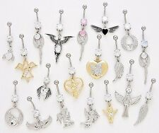 10 CZ Dangle Belly Button Rings Angel Wings 14g Wholesale Gem Fancy Navel 364
