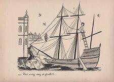 PEYNET. Tirage noir et blanc. Le navire. Format. 24 x 32 cm. 1943.