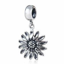 Sunflower Flower Genuine 925 Sterling Silver Charm Bead For European Bracelet
