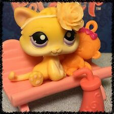 Littlest Pet Shop  LPS RARE ORANGE BABY KITTEN PURPLE EYES # 114 BLEMISHED