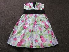 BNWT £40 River Island Dress UK 8 Floral Watercolour Pink Black Strapless Party