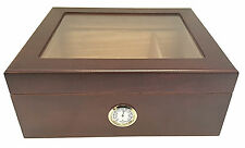 NEW CHERRY WOOD HUMIDOR 50 CIGAR HYGROMETER GLASSTOP