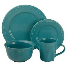 10 Strawberry Street Nova Beaded Round 16-pc. Dinnerware Set - Teal